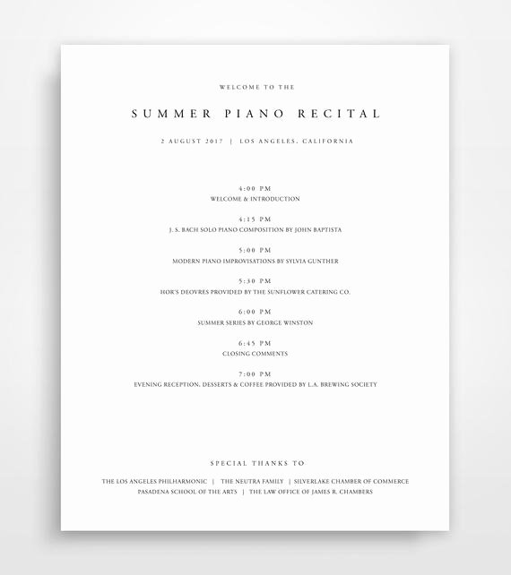 Printable event Program Template Elegant event Program Template Program Template event Program event