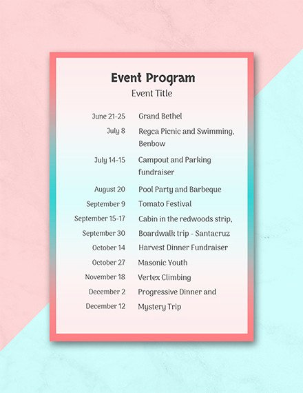 Printable event Program Template Lovely 37 Sample event Program Templates Psd Ai