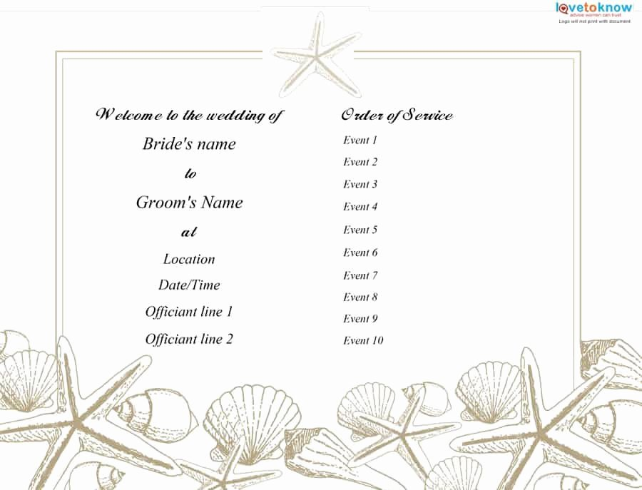 Printable event Program Template Unique 37 Printable Wedding Program Examples & Templates