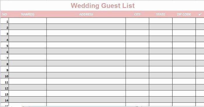 Printable Guest List Template Awesome 35 Beautiful Wedding Guest List & Itinerary Templates