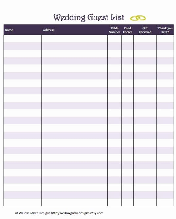 Printable Guest List Template Awesome Items Similar to Wedding Guest List organizer Instant
