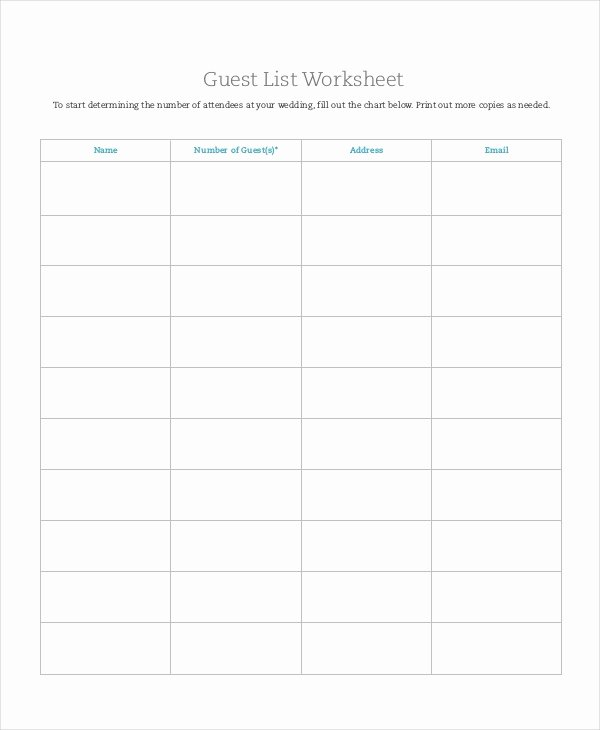 Printable Guest List Template Awesome Wedding Guest List Template 9 Free Word Excel Pdf