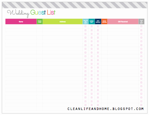 Printable Guest List Template Best Of Clean Life and Home Freebie Friday Printable Wedding