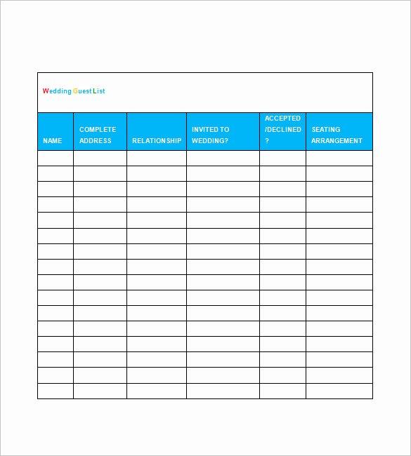 Printable Guest List Template Best Of Printable Wedding Guest List Template Spreadsheet