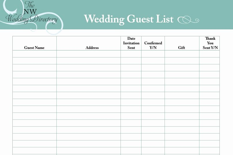 Printable Guest List Template Elegant Printable Wedding Guest List Template