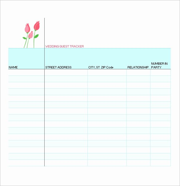 Printable Guest List Template Elegant Wedding Guest List Template – 10 Free Sample Example