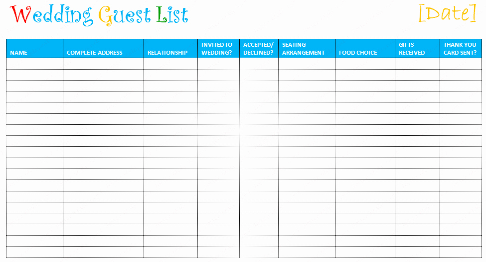 Printable Guest List Template Fresh Printable Wedding Guest List Template