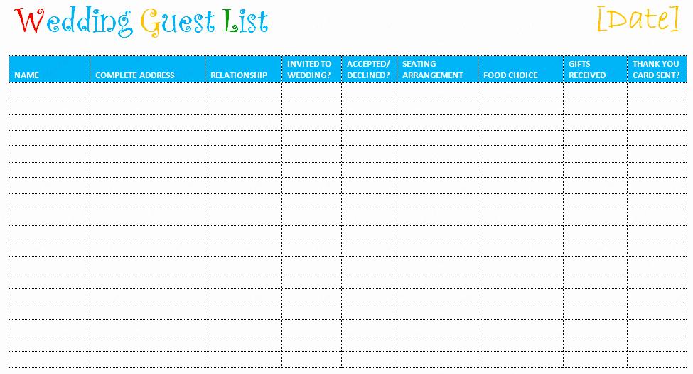 Printable Guest List Template Fresh Printable Wedding Guest List Template