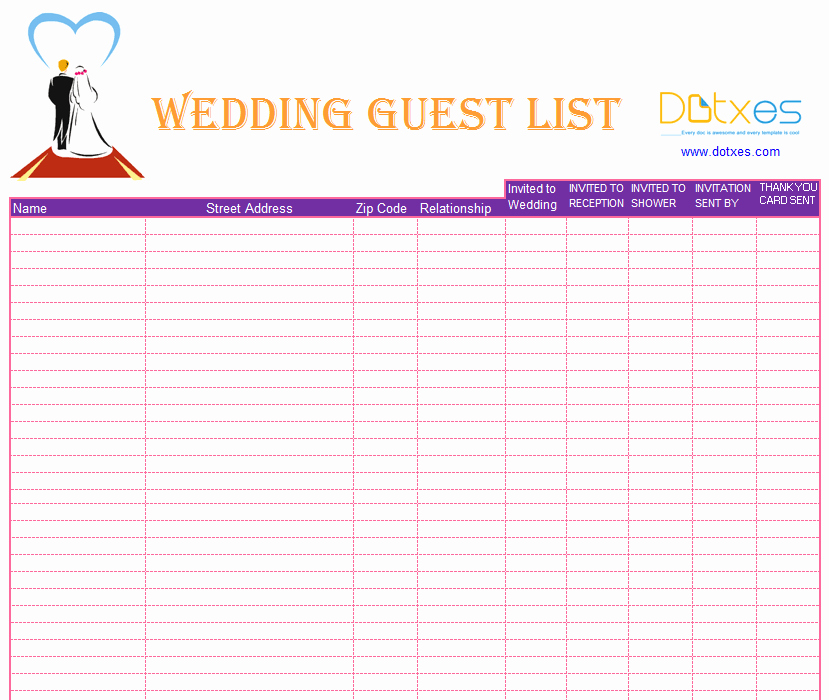 Printable Guest List Template Inspirational Blank Wedding Guest List Template Dotxes