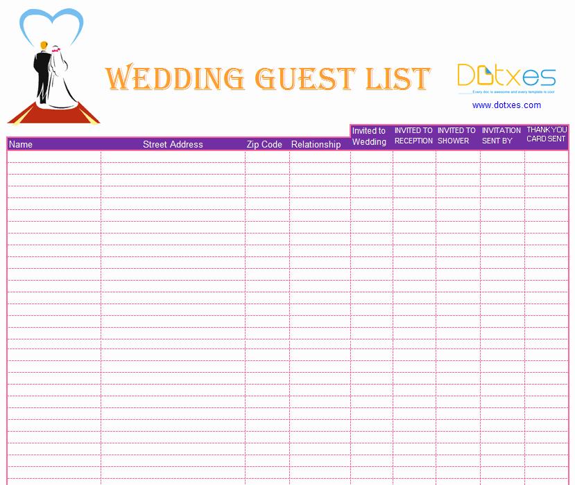 Printable Guest List Template Inspirational Blank Wedding Guest List Template Dotxes