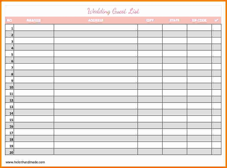 Printable Guest List Template Luxury 4 Printable Wedding Guest List