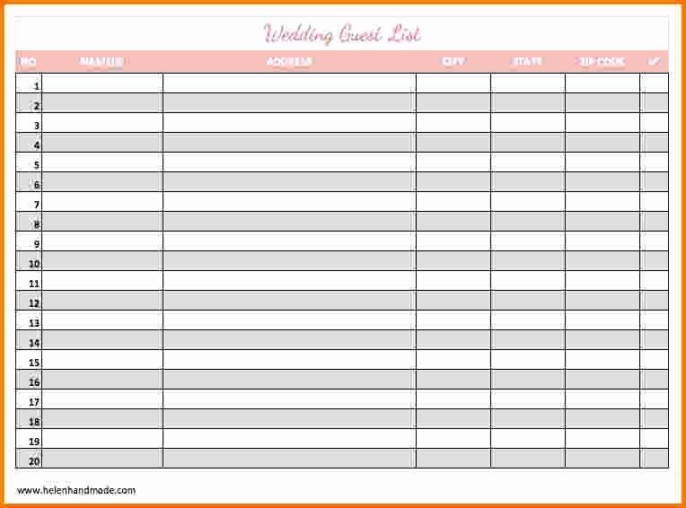 Printable Guest List Template Luxury 4 Printable Wedding Guest List