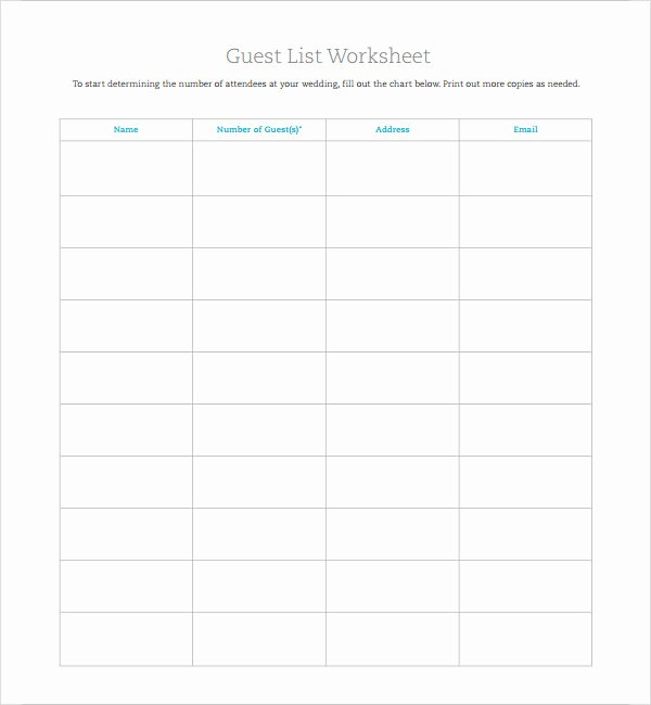 Printable Guest List Template New 7 Wedding Guest List Samples
