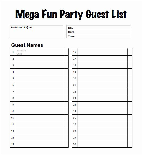 Printable Guest List Template New 9 Guest List Samples