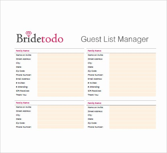 Printable Guest List Template New Wedding Guest List Template – 10 Free Word Excel Pdf