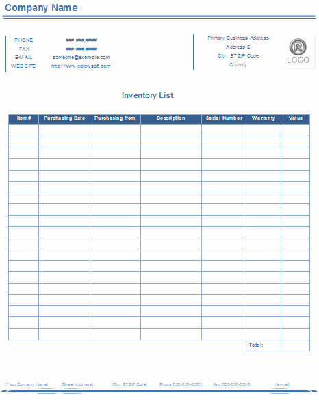 Printable Inventory List Template Awesome Inventory List Templates Free Download