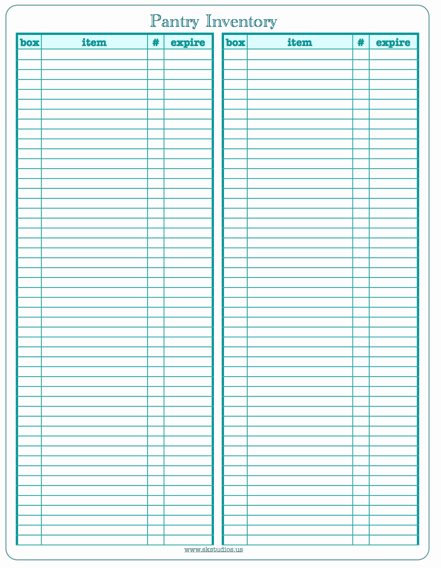 Printable Inventory List Template Awesome Sk Studios Homemaking 31 Days Day 27 Pantry Inventory