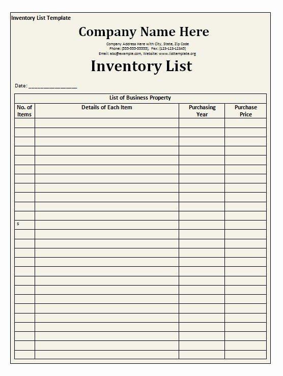 Printable Inventory List Template Elegant Inventory List Template