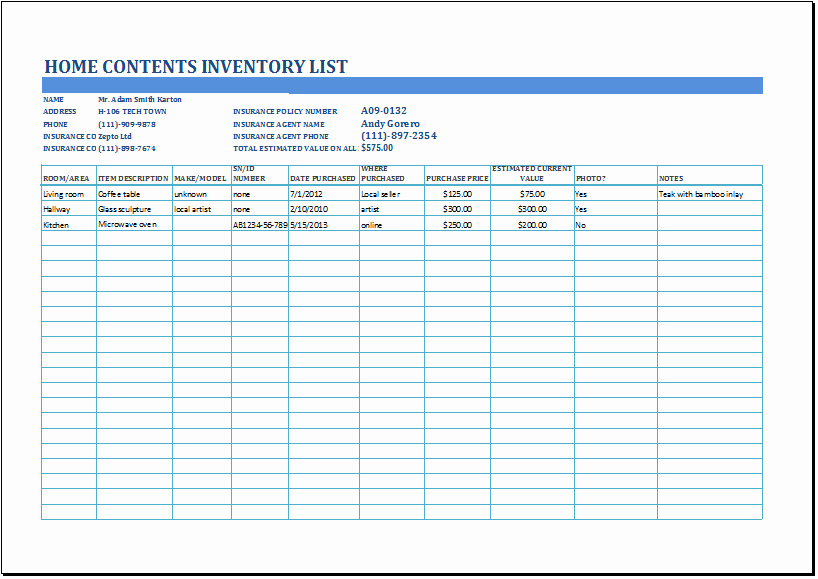 Printable Inventory List Template Elegant Ms Excel Household Inventory List Template