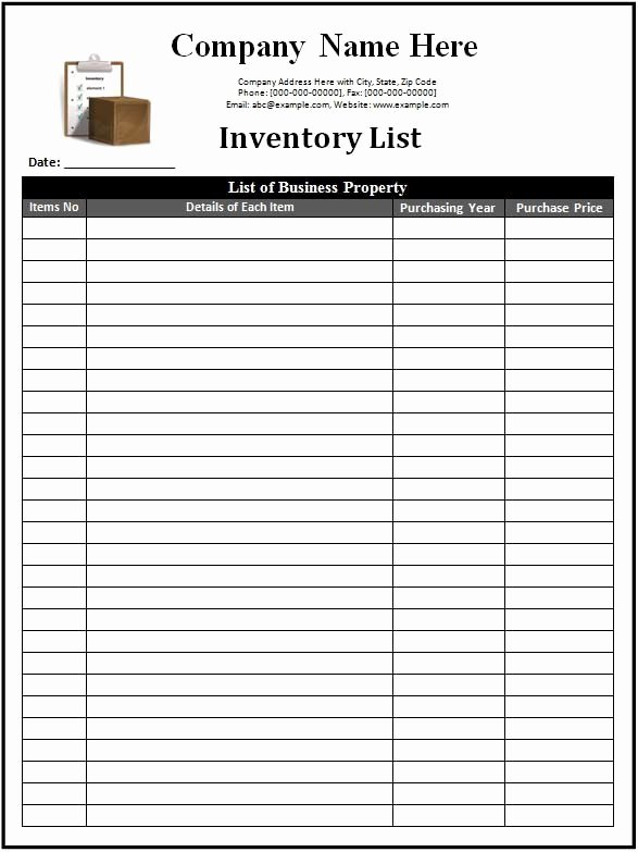 Printable Inventory List Template Fresh 3 Inventory Templates Spreadsheet Excel Excel Xlts