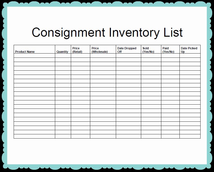 Printable Inventory List Template Fresh Inspirational Consignment Inventory List Template Sample