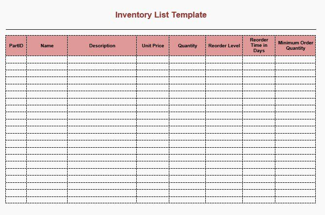 Printable Inventory List Template Luxury Moving Inventory List Template