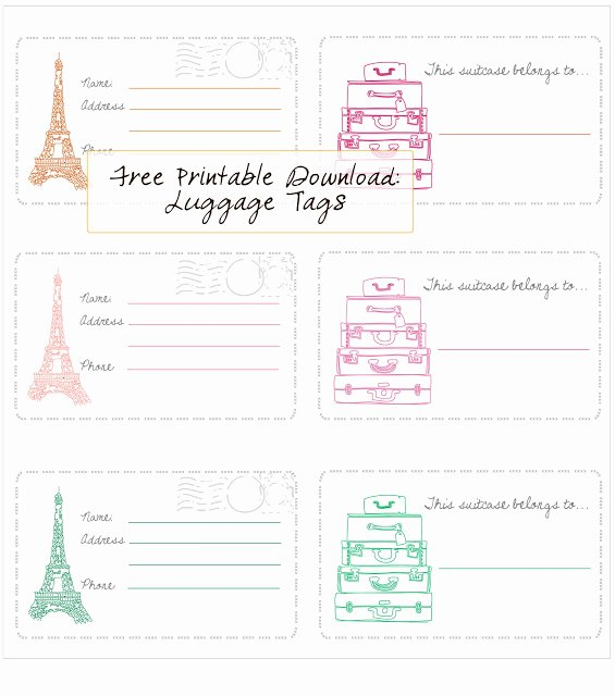 Printable Luggage Tags Template Beautiful In Honor Design Free Printable Luggage Tags