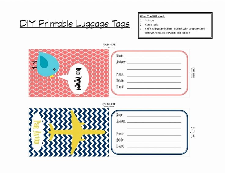 Printable Luggage Tags Template Elegant 4 Best Of Avery Templates Luggage Tag Printable