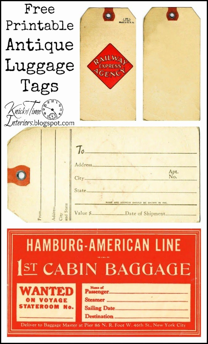 Printable Luggage Tags Template Fresh Vintage Christmas Gift Tags Labels and Stickers Knick