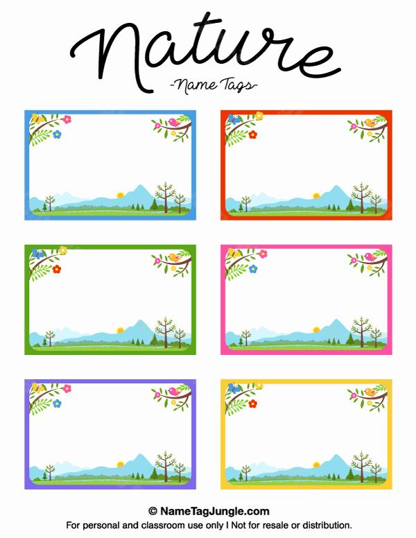 Printable Name Tag Template Awesome Printable Nature Name Tags