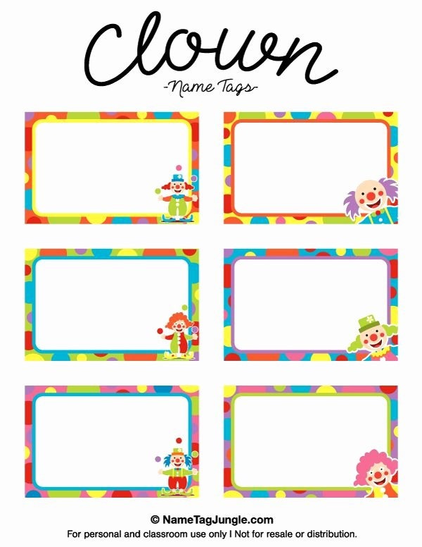 Printable Name Tag Template Elegant Free Printable Clown Name Tags the Template Can Also Be