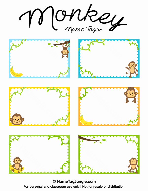 Printable Name Tag Template Elegant Free Printable Monkey Name Tags the Template Can Also Be