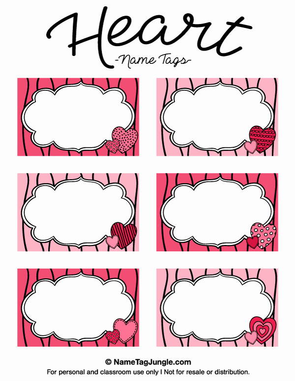 Printable Name Tag Template Lovely Free Printable Heart Name Tags the Template Can Also Be