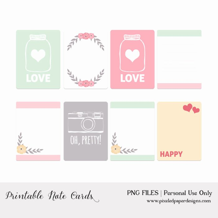 Printable Note Card Template Best Of 50 Free Printable Valentine S Day Project Life Cards