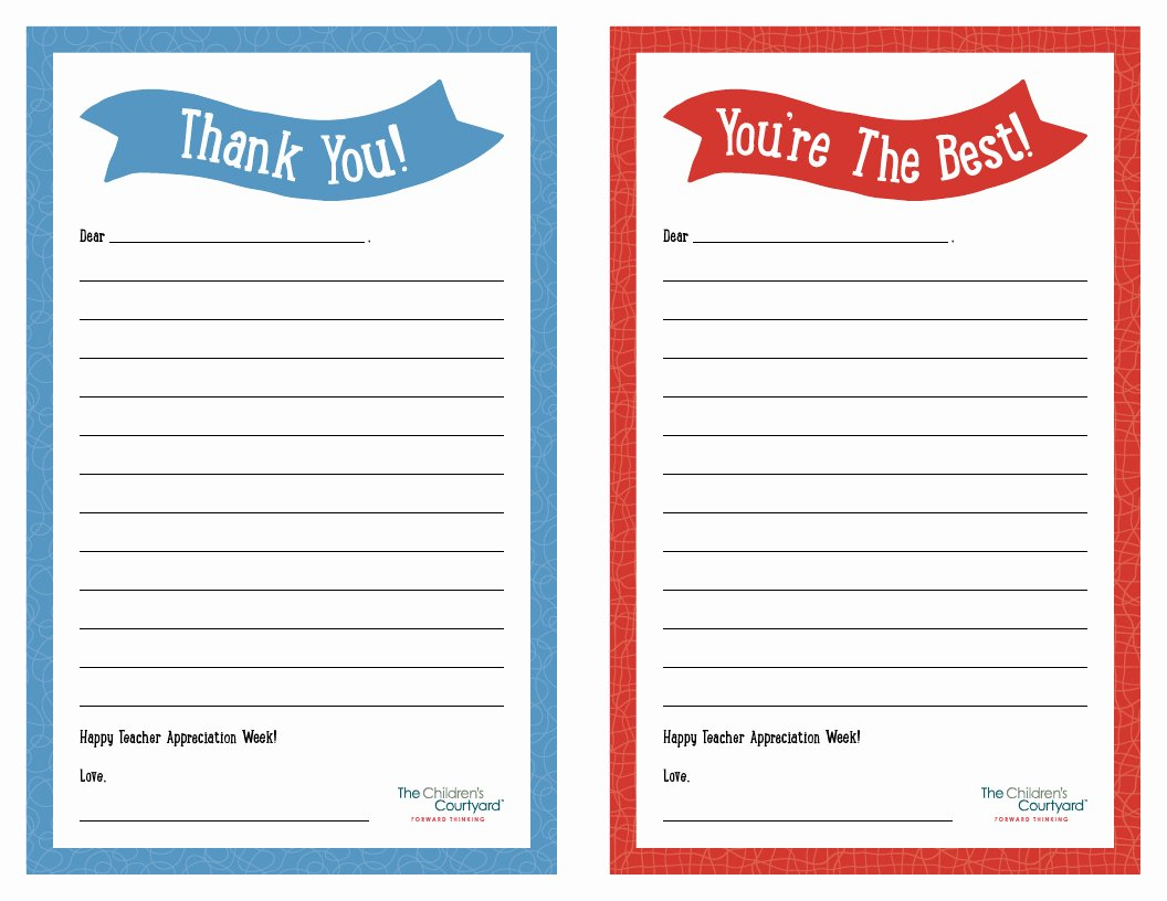 "Printable Note Card Template Lovely Teacher Appreciation Week – Printable ""thank You"" Notes"