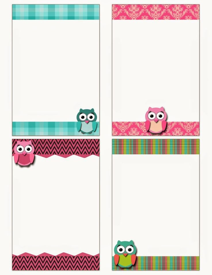 Printable Note Card Template New Free Printable Owl Notecards Crafts Pinterest