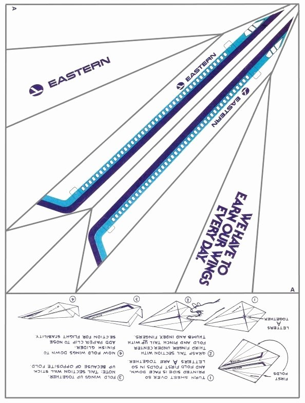 Printable Paper Airplane Template Luxury Eastern Airlines Paper Airplane Print It Fold It