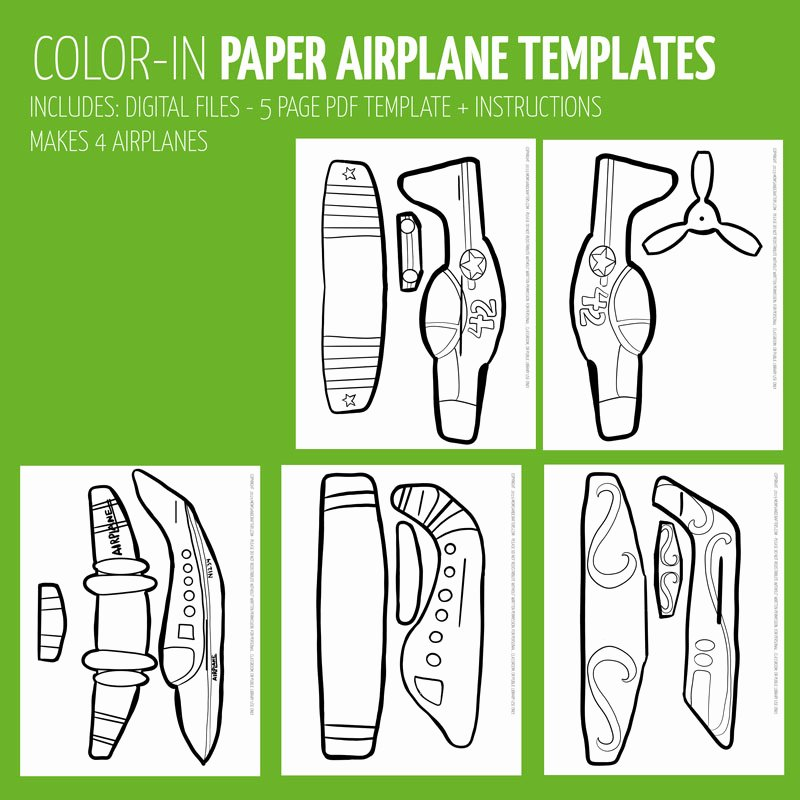 Printable Paper Airplane Template Luxury Easy Paper Airplane Templates to Print Color Craft and Fly