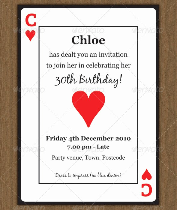 Printable Playing Card Template Inspirational Playing Card Invitation by Chloeb