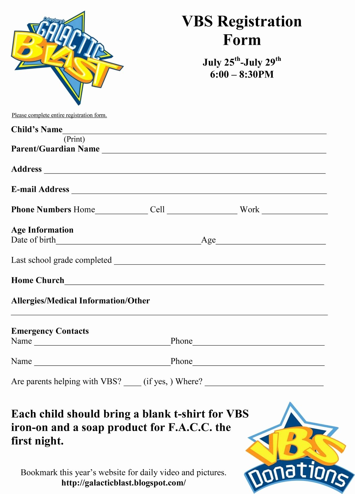 Printable Registration form Template Awesome Free Vbs Registration form Template Vbs