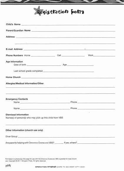 Printable Registration form Template Beautiful Church Nursery forms thenurseries