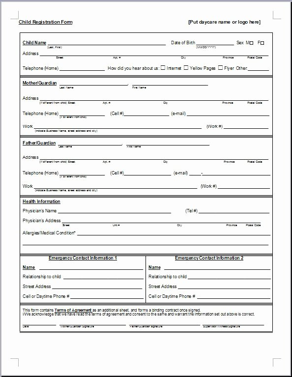 Printable Registration form Template Best Of Preschool Registration form Template