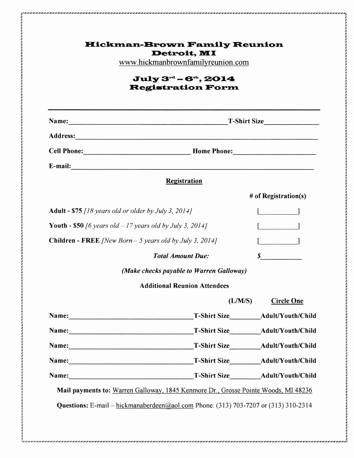 Printable Registration form Template Elegant Family Reunion Registration form Template