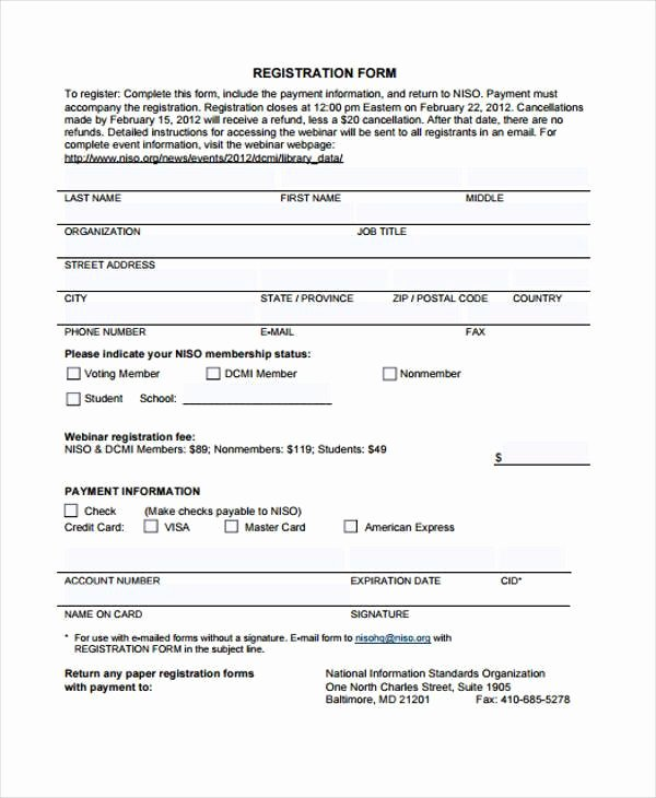 Printable Registration form Template Fresh 32 Sample Free Registration forms