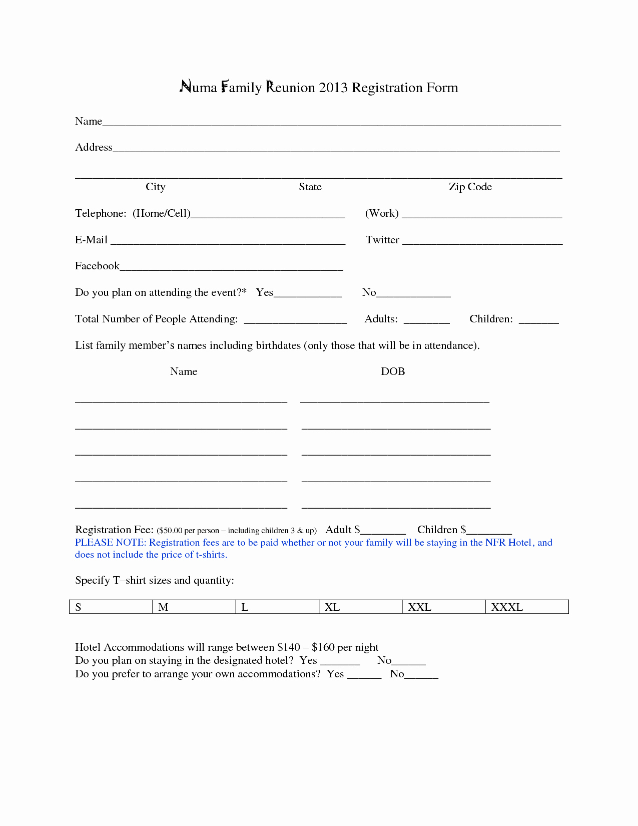 Printable Registration form Template Fresh 7 Best Of Family Reunion forms Printable Free