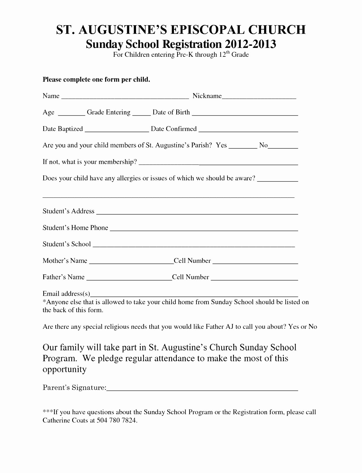 Printable Registration form Template Lovely 7 Sunday School Registration form Template Cutei