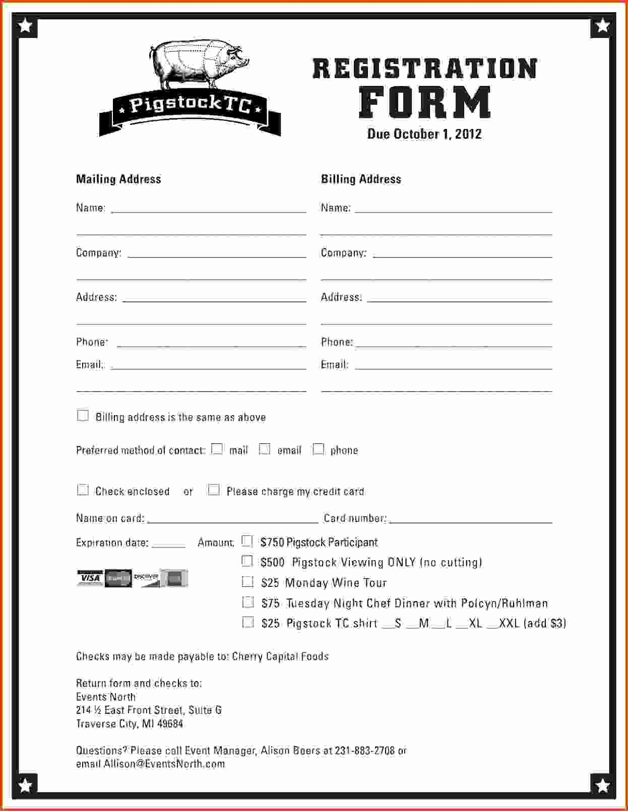 Printable Registration form Template Lovely Printable Registration form Template