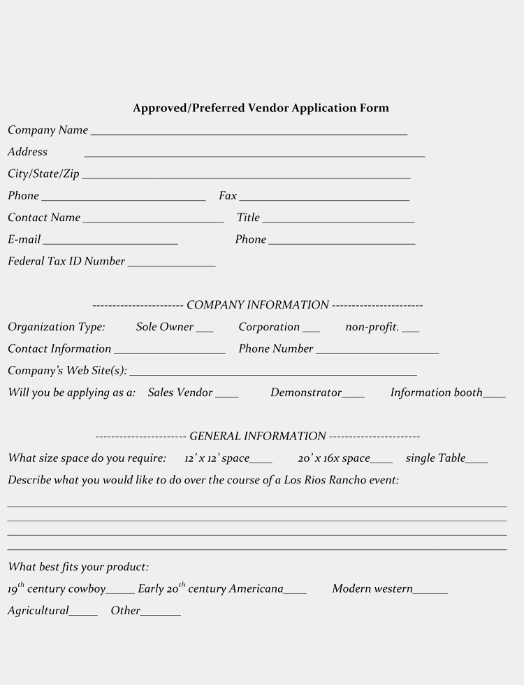 Printable Registration form Template Luxury 9 Printable Blank Vendor Registration form Templates for