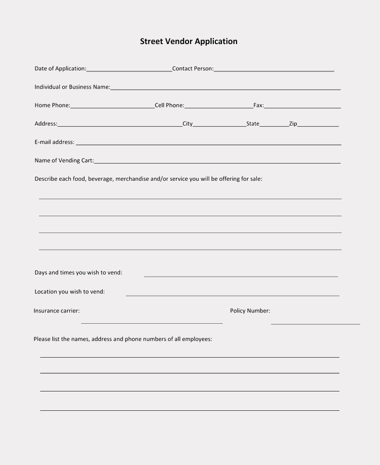 Printable Registration form Template Unique 9 Printable Blank Vendor Registration form Templates for