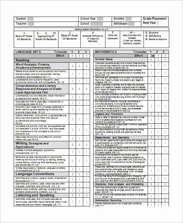 Printable Report Card Template Fresh 20 Report Card Templates Doc Pdf Psd